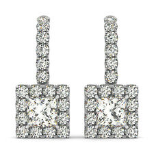 1.75 FOREVER ONE GHI MOISSANITE SQUARE HALO DROP EARRINGS