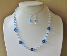 Handmade Gemstone beaded necklace set with blue & clear Quartz N746
