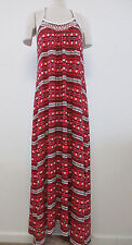 NEW Lucky Brand Size L Red Multi-Color Embroidered Beaded Maxi Dress $69.50