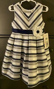 Jona Michelle Girl's Dress -Sleeveless - Navy Stripe Choose Size - NEW WITH TAGS