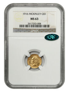 1916 McKinley G$1 NGC/CAC MS63 - Classic Commemorative - Gold Coin