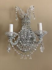 Pair Petite French Crystal Beaded Candelabra Wall Sconces