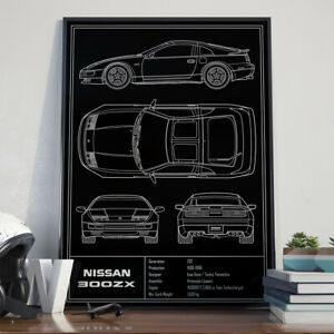 Nissan 300ZX Z32 JDM Blueprint Art Poster 17x24 inch size