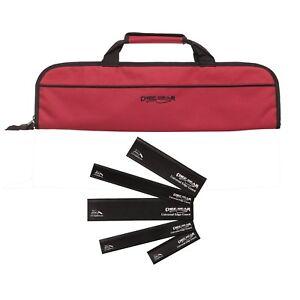 5 Pocket Chef Knife case roll bag (Red) w/ 5pc knife edge guard Set Ergo Chef