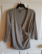Ann Taylor women's Cashmere Gray Silver 3/4 sleeve Sweater Faux Wrap Size Large