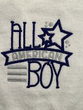 All American Boy Embroidered Baby Bib NEW! Blue and White