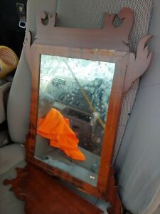 Vintage 1800's Period Chippendale Walnut Mirror ornate please read