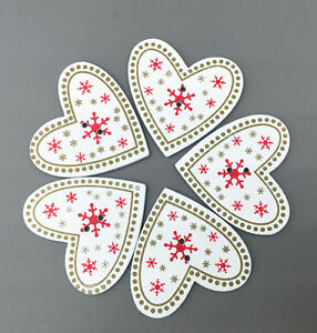 40X Wooden Buttons decoration Christmas snowflake White Heart-shaped Sewing 33mm
