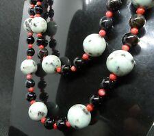 Dalmatian Jasper, Red Coral and Smoky Quartz Necklace, handmade semi-precious