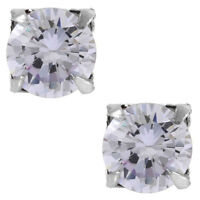 Lavender Round Cut CZ .925 Sterling Silver Magnetic Stud Earrings No Piercing