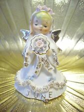 V RARE VTG Lefton Japan June Bride Birthday Girl Angel Figurine w/ Orig Sticker