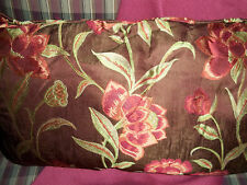 Luxury Designer Embroidered CUSTOM Fabric Pillow Maroon Sage Floral