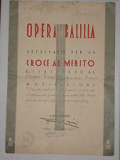 WW1 PNF ONB OPERA BALILLA ATTESTATO CROCE AL MERITO TREVISO 1934  att6