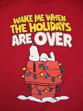 Peanuts Snoopy Wake Me When The Holidays Are Over Cute Christmas T Shirt M