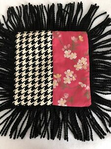 Embroidered Flowers on Pink~Next To Black-White Design Fabric Pillow~Long Fringe