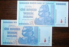 2X ZIMBABWE 100 TRILLION DOLLARS CURRENCY 2008 AA SERIES! | OVER 50 IN STOCK!