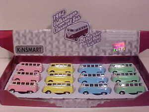 12 Pack 1962 VW Bus Volkswagen Van Diecast Kinsfun 2.5 inch PASTEL: