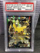Pokemon Psa 10 Pikachu Ex Full Art Red & Blue Collection Xy124