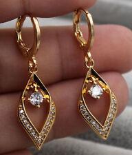"18K Yellow Gold Filled - 1.3"" Hollow Diamond Style Topaz Zircon Party Earrings"