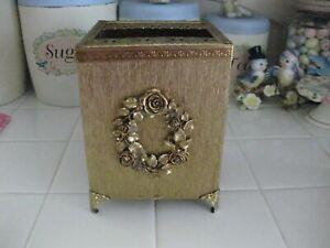 Vintage Filigree Gold Metal Tissue Kleenex Box Holder Cover With Rose Wreath