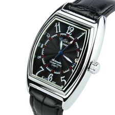 Men's Self Winding Automatic Mechanical Wrist Watch Sport Black Leather Day Date