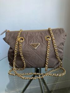 PRADA Vtg Brown Tessuto Quilted Nylon Gold Leather Chain Shoulder Bag Purse