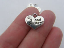 BULK 20 Grand daughter pendants antique silver tone M437