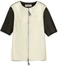 BNWT MARNI H&M Brown White Patent Leather Front T-Shirt Top, Size Medium
