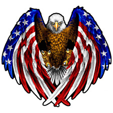 BALD EAGLE AMERICAN FLAG DECAL STICKER 3M USA MADE TRUCK VEHICLE WINDOW WALL CAR