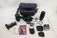 Vtg Canon A1 35mm Camera CLEAN Plus Zoom Lens Filter Autowinder Flash Bag LOT
