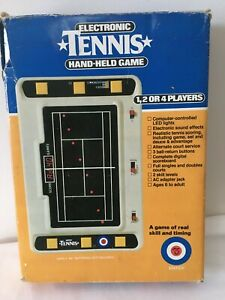 Vintage 1980 Entex Electronic Hand-Held Tennis Game With Box