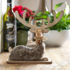 Wooden Sitting Reindeer Stag Deer Figurine Ornament Christmas Xmas Decoration