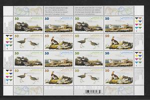 2005 CANADA - AUDUBON BIRD STUDIES - COMPLETE SHEET OF 16 STAMPS - MNH.