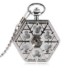 Watch Pendant Gift Snowflake Hexagon Silver Steampunk Men Mechanical Fob Pocket