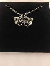 """Comedy & Tragedy R139 English Pewter on a Silver Platinum Plated Necklace 18"""""""