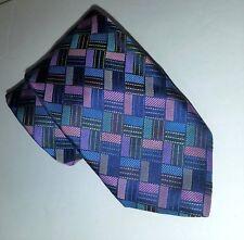 "Robert Talbott Best of Class Multi-Color Geometric Plaid 3.5"" Wide Silk Tie"