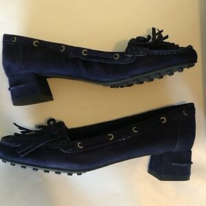 Nine West Womens Westby Navy Blue Suede Moccasin Size 7.5