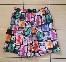 Men's Black Graphic Print Board Style Summer Shorts Size XL New Look