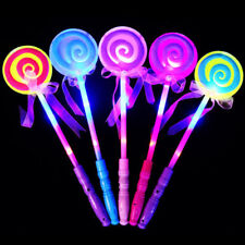 FM- LED LIGHT UP FLASHING MAGIC WAND PRINCESS LOLLIPOP STICK GIRL XMAS GIFT ALLU