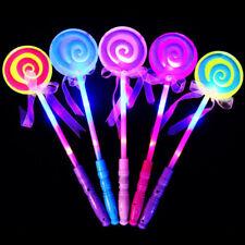 LED LIGHT UP FLASHING MAGIC WAND PRINCESS LOLLIPOP STICK GIRL XMAS GIFT ALLURING