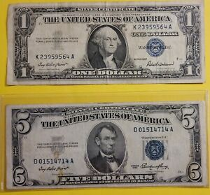 US Silver Certificate Collection. Rare $5 Dollar Blue 1953,  $1 Dollar Blue 1957