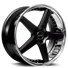 4 20 Staggered Azad Wheels Az008 Semi Gloss Black With Chrome Lip Rimsb44 Fits 2012 Jeep Grand Cherokee