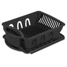 Sterilite Dish Drainer Dry Rack 0621 2 Piece Sink Drainboard Set Plastic, Black