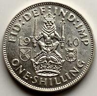 1940 SCOTTISH REVERSE SHILLING - GEORGE VI SILVER COIN - A/UNC