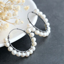 B06 Earring Hoop Earrings Freshwater Pearls White Sterling Silver 925