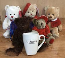 Godiva Lot 5 Gund Bears & New Mug Valentines Christmas Halloween Bat Wings Nwt +