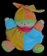 Doudou Poupée Clown COROLLE 2006 Boule Bleu Orange Fichu Rayé NEUF