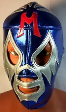 MIL MASCARAS! WRESTLER/LUCHADOR-MASK, BLUE/SILVER/RED!CLASSIC!! FOR HALLOWEEN!!