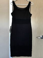 BEBE Gigi Rib Scoop Neck Stretch Black Dress Size XL $99.00