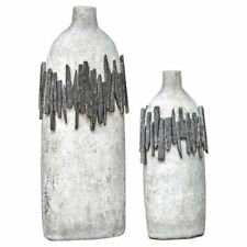 Uttermost Rutva 2 Piece Vase Set in Aged Ivory and Black